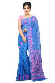 jamdani sharee mesmerizing blue and pink color jamdani cotton saree with floral
