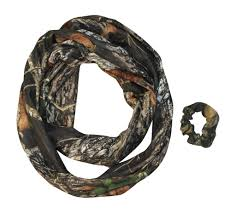 mossy oak pink camo infinity scarf ponytail hair band scrunchie