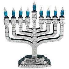 knesset menorah silver plastic electric knesset menorah with blue