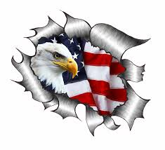 ripped torn metal design with bald eagle us flag motif