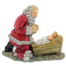 santa and baby jesus picture kneeling santa figure 12 the catholic company