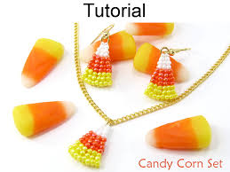 beading tutorial pattern earrings necklace set candy corn