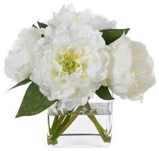 Faux Flower Arrangements Diane James Classic White Peonies Transitional Artificial