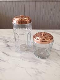 kitchen storage redbud house copper lid glass jars