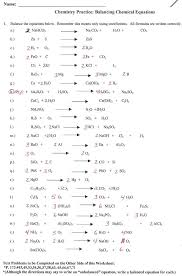 worksheets balancing chemical equations worksheet answers