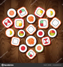 Wooden Table Background Vector Sushi Roll Set In The Heart Shape On Wooden Table Background Food