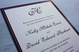 thermography wedding invitations burgundy border and monogram wedding invitations emdotzee designs