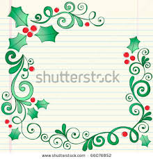 stock vector hand drawn christmas holly leaves sketchy notebook