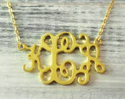 Gold Plated Monogram Necklace Monogram Pendant