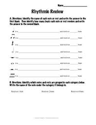 rhythm review worksheets students and music classroom