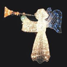 lighted angel christmas decoration 48 crystal 3 d angel with trumpet lighted christmas yard art