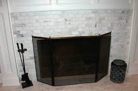 marble subway tile fireplace home design ideas