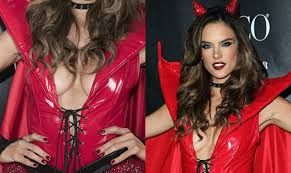 angels and demons halloween party alessandra ambrosio flashes cleavage in red devil costume at
