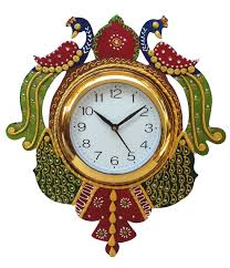 buy divine crafts peacock papier mache wall clock multicolor