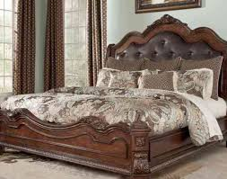 mattress trendy carving wood king bed frame with tufted leather