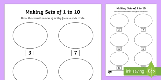 senior infants making sets 1 10 activity sheet worksheet