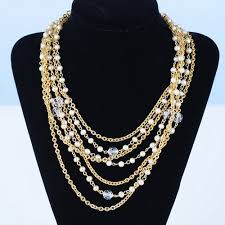crystal chain necklace images Lisner gold pearl and crystal chain necklace vintageanelia on jpg