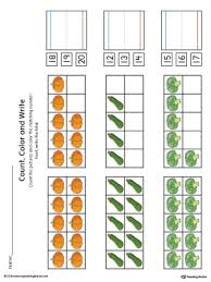 ten frame count color and write the number printable worksheet