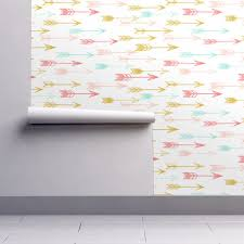 Mint Home Decor Arrows Coral Pink Mint Yellow Wallpaper By Andrea Lauren