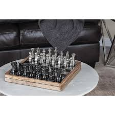 6 in x 17 in classic aluminium and mango wood chess set home