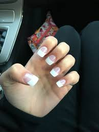 rounded square french tip acrylic nails great for a natural