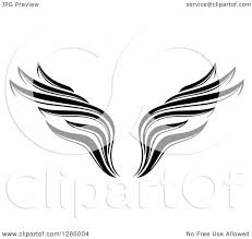 clipart of a black and white wing design royalty free