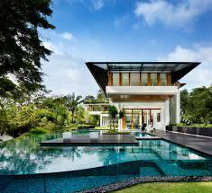 villa modern residence design with awesome swimming pool