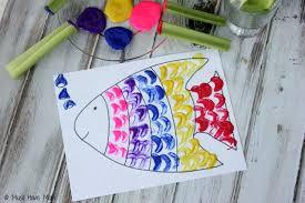 rainbow fish celery painting free printable rainbow fish