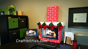 Xmas Office Decorations Holiday Office Idea Fireplace Computer Cubicle Fun Diy