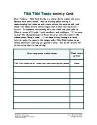 tikki tikki tembo worksheets tikki tikki tembo lesson plans worksheets reviewed by teachers