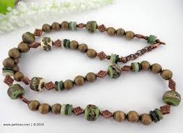 jade beads necklace images Artisan glass with wood and jade beads necklace and earrings jpg