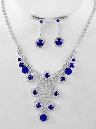 earring necklace rhinestone images Vintage inspired rhinestone blue sapphire crystal necklace drop jpg
