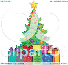 Christmas Tree Images Clipart Clipart Of A Cartoon Colorful Christmas Tree With Gifts Royalty