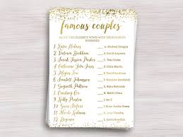 famous couples funny bridal shower games gold shower ideas