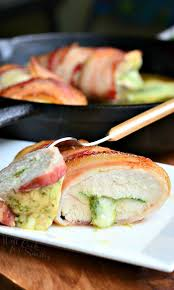 stuffed chicken for thanksgiving bacon wrapped mozzarella and pesto stuffed chicken will cook