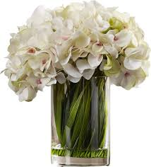 hydrangea white faux white hydrangea arrangement in glass vase reviews joss