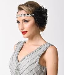 gatsby headband black feather silver rhinestone gatsby headband unique vintage