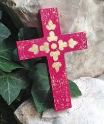 unique wall crosses coral wooden wall cross with colorful gold leaf design