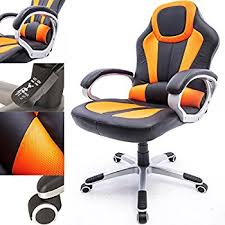 raygar orange deluxe gaming sports racing style chair computer