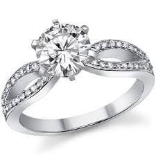 split band engagement rings moissanite pave split shank engagement ring