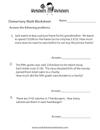 elementary math word problems worksheet free printable
