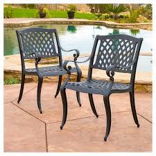 Cast Aluminum Patio Chair Hallandale Set Of 2 Cast Aluminum Patio Chairs Black Sand