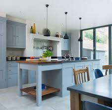 glittering blue painted kitchen islands with flat black pendant