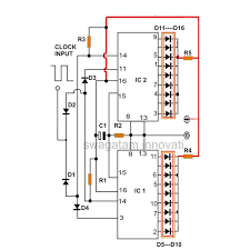 how to produce 18 sequential outputs by cascading 4017 ic light