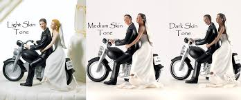 motorcycle wedding cake toppers customize your wedding cake topper hair skin tones
