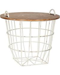 wire and wood basket side table find the best savings on industrial cream wire and wood basket side