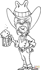 cowboy with a mug coloring page free printable coloring pages