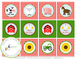 printable farm animal cupcake toppers 2 party circle