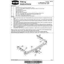 witter towbar wiring diagram ford kuga towbar wiring instructions