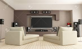 elegant living room with home theatre system rendering stock